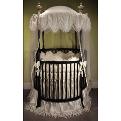 Antoinette Round Crib Bedding Set Neutral Round Crib Bedding - LuxuryLamb.Com  sc 1 st  Luxury Lamb : round crib with canopy - memphite.com