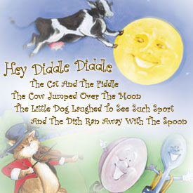 Nursery Rhymes Cow Over The Moon And Le Little Star Themed Childrens Bedding Artwork