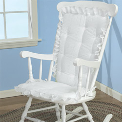 rocking chair cushions nursery White Eyelet Adult Rocking Chair Cushion Nursery Gliders  rocking chair cushions nursery