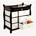 Sleigh Style Changing Table with Baskets