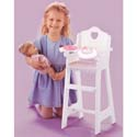 White Doll Highchair with Pink Gingham Trim