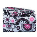Black and White Paisley Flower Twin Sheet Set