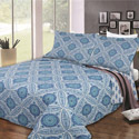 Blue Geometric Shapes 3 Piece Quilt Set