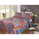 Blue and Orange Floral 3 Piece Quilt Set