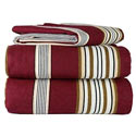 Burgundy Stripe Flannel Twin/Full Sheet Set