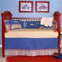 Embroidered Racecars Crib Bedding