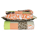 Green and Orange Floral 3 Piece Quilt Set