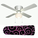 Hot Pink Swirls on Black Ceiling Fan