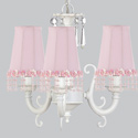 Pink Pearl Flower 3 Arm Scroll Chandelier
