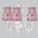 Pink Petal Flower 3 Arm Scroll Chandelier