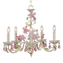 Pink 'n Green Crystal Flower 5 Arm Chandelier