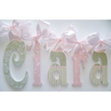 Clara's Pink and Green Glitter Wall Letters
