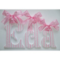 Eda's Pink Stripes Glitter Wall Letters
