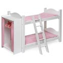 Doll Bunk Bed with Ladder and Storage Armoire