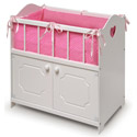 White Storage Doll Crib with Bedding