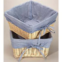 Natural Wicker Basket with Navy Gingham Liner - Set of 2