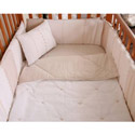 Cream Stitches Crib Bedding