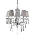 Polished Silver and Iced Glass 5-Light Chandelier