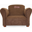 Personalized Kids Brown Microsuede Chair
