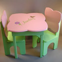 Pink & Green Garden Table and Chair Set