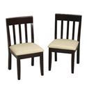 Children's Slat Chair Set with Upholstered Seat