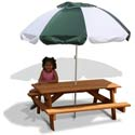 Children's Picnic Table and Umbrella