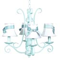 4 Arm Baby Blue Harp Chandelier