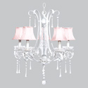 Pink & White Stripe 5 Arm Colleen Chandelier