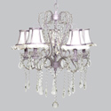 White & Lavender Ruffled Whimsical Chandelier