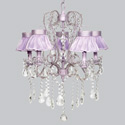 Lavender Ruffled 5 Arm Whimsical Chandelier