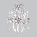 5 Arm Lavender Whimsical Beaded Chandelier