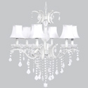 6 Arm Glitz Chandelier with White Shades
