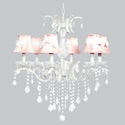 White Sash 6 Arm Glitz Chandelier