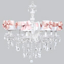 Pink Sash 8 Arm Pageant Chandelier