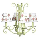 Green 'n Pink Rosebud 4 Arm Chandelier
