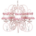 Pink Rose Trim Carriage Chandelier