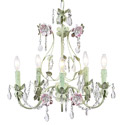 Pink 'n Green 5 Arm Flower Garden Chandelier