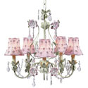 Pink and Green 5 Arm Flower Garden Chandelier