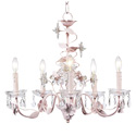 Pink 5 Arm Crystal Flower Chandelier