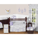 Gray Damask Crib Bedding