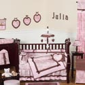 Pink & Brown Toile Crib Bedding
