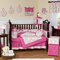Pink Circles Crib Bedding Set
