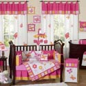 Butterfly Pink and Orange Crib Bedding