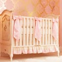 Ivory and Pink Silk Crib Bedding Set