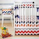Personalized Zig Zag Baby Crib Bedding in Rugby