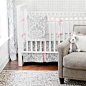 Personalized Stella Gray 3 Piece Crib Bedding Set
