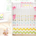 Rainbow Chevron 3 Piece Crib Bedding Set