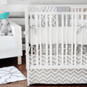 Personalized Zig Zag Baby Crib Bedding in Gray