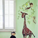 Giraffe & Monkey Wall Decal