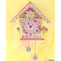 Koo Koo Yellow Bird Canvas Clock